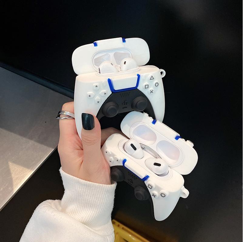 العلامة التجارية ps5 لعبة وحدة التحكم مقبض 3d القضية ل airpods 1 2 برو شحن مربع لينة سيليكون اللاسلكية بلوتوث سماعة حماية غطاء