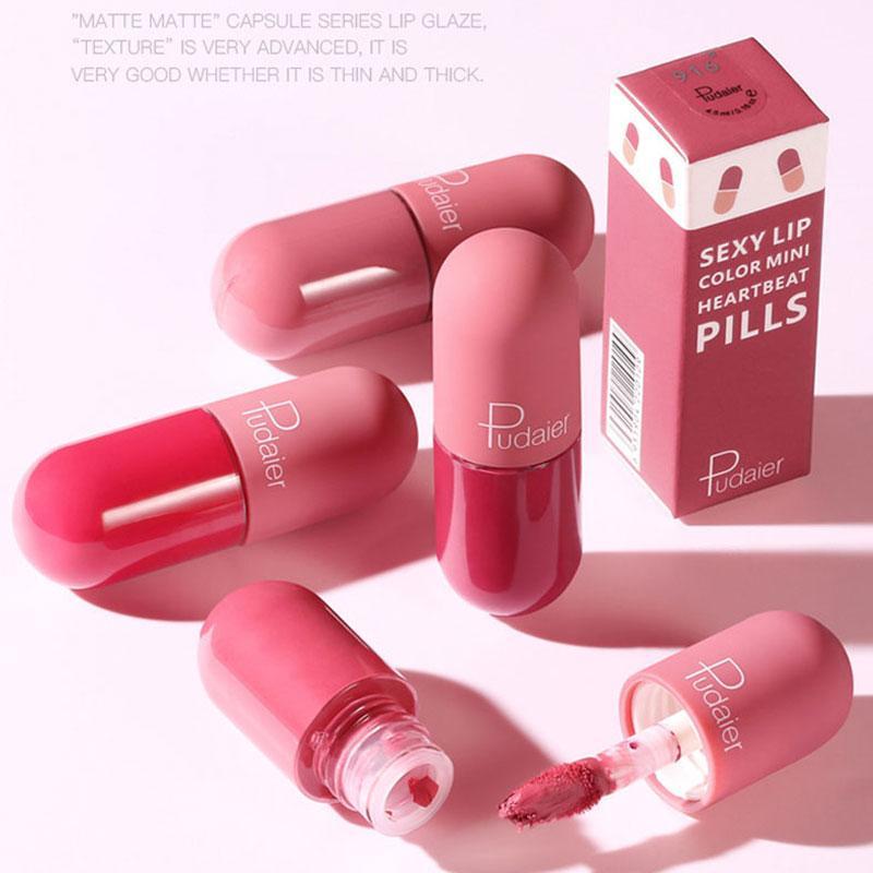 18 colori di marca Mini Capsule Lip Glaze Long Lasting Stick Cup non Silky opaco color nudo rossetto impermeabile trucco Rossetti Lip Gloss DHL