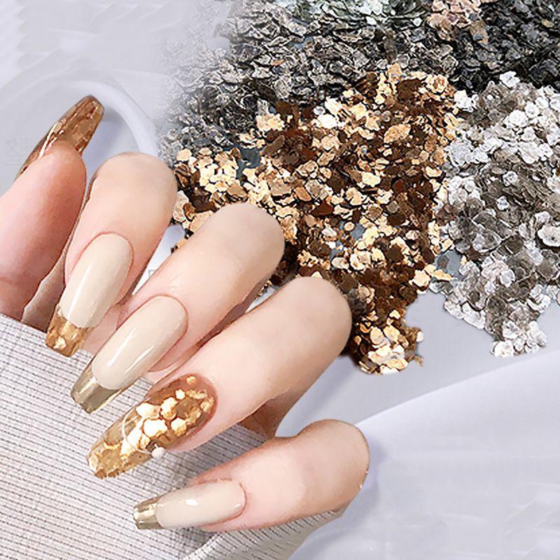 6pcs / lot di arte del chiodo Mica Fette ultrasottile Metallo Rame Flake irregolare bronzo Ghiaia Paillette Giappone Glitter manicure Accessori
