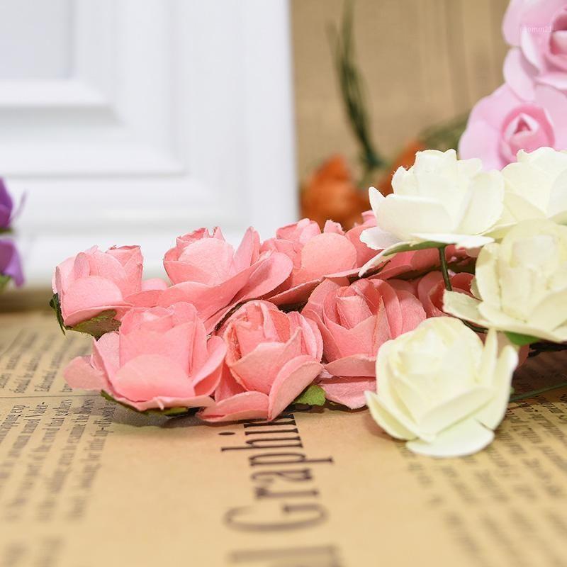 Guirnaldas de flores decorativas 72/144pcs 2 cm Mini papel Rose ramo artificial para la decoración de la fiesta de bodas Scrapbooking DIY Crafts Pequeño FAK