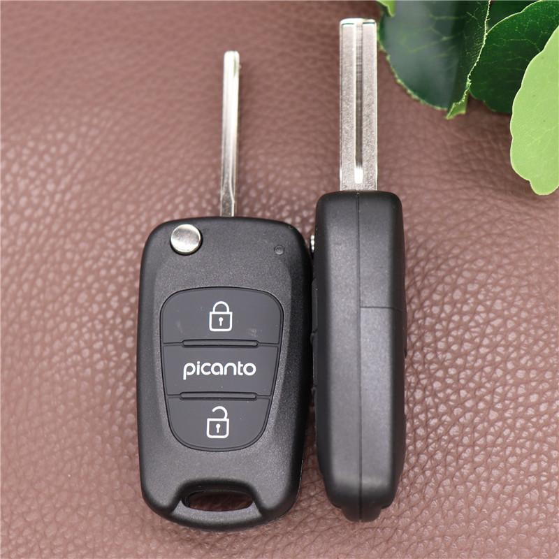 Замена автомобиля Складной чехол для Hyundai Picanto 3 Кнопка Удаленный Flip Key Blow Cover Оболочка Необработанный Клейкий Клей