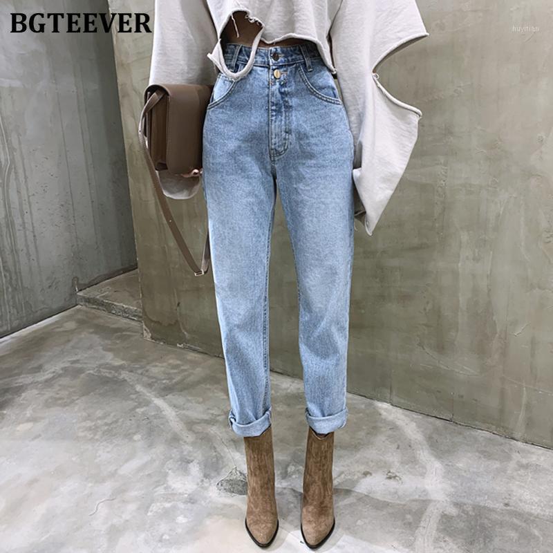Vintage High Cintura Jeans rectos Pantalón para las mujeres Streetwear suelta hembra denim jeans botones cremallera señoras 20201