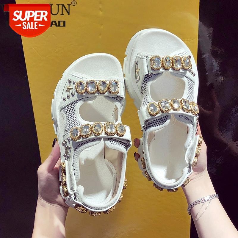 Sommer Strass Frauen Sandalen Schuhe Frauen 2019 Atmungsaktive bequeme rutschfeste Damen Wanderer Strand Sandalen Frauen Schuhe 35-40 # DL7e