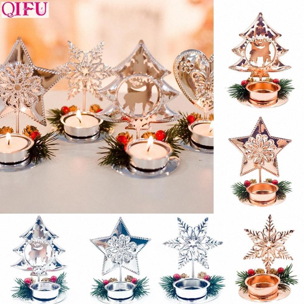 Regali Decorazione Qifu oro rosa d'argento del fiocco di neve di Natale Ferro Candeliere di Natale Per la casa natale di Noel vigilia di Felice Anno Nuovo 2020 drn7 #
