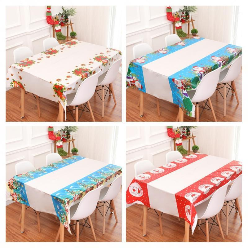 Christmas Decorations For Home Hotel Tables Waterproof PVC Plastic Tablecloth Restaurant Rectangular Disposable Tablecloths1