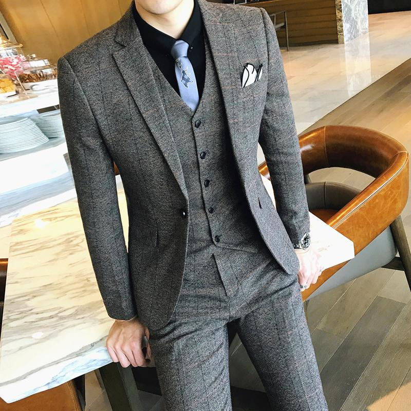 Veste + pantalon 2019 Nouveau Mens Mode Boutique Plaid Casual Costume d'affaires occasionnel / Marque haut de gamme Formelle Groom pour hommes Mariage