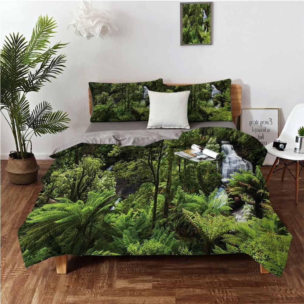 Yağmur Ormanı Şelale Nehri Turistik Cazibe Tropikal Araziler Yeşil Zen Themecartoon Cilt Dostu Üç Parçalı Set