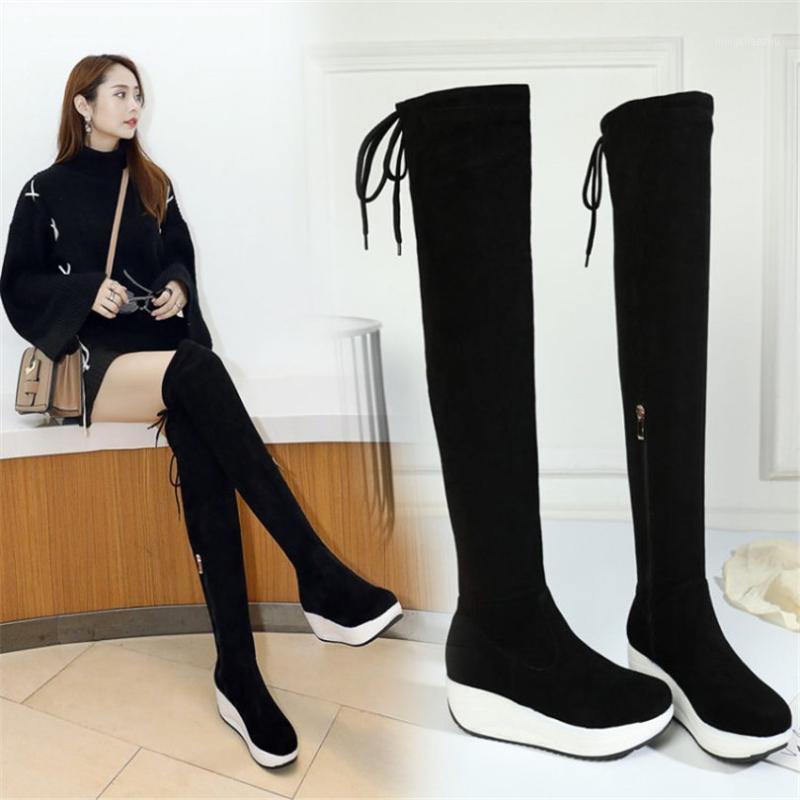 الأحذية الفخذ عالية النساء الأسود فو من جلد الغزال فوق الركبة ركوب الجوارب ميد كعب طويل القامة الشرير أحذية رياضية تمتد الزواحف 1