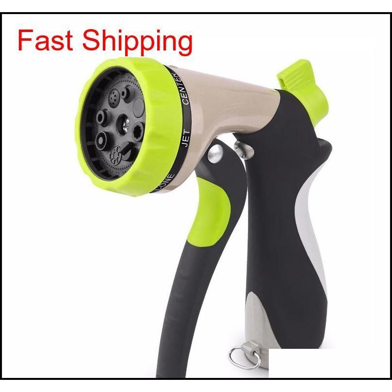 Garden Hose Nozzle Hand Sprayer 8 Pattern Adjustable Heavy Duty Metal Slip Resista qylyzg homes2011