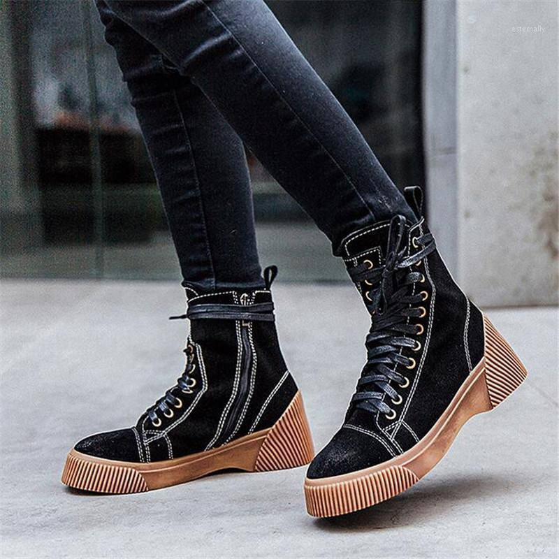 BBZAI nuevo patrón Europa y América Botas de mujer de cuero genuino 5 cm Zapatos de tacón alto Confort Moda Moda EEUU 3-7 81