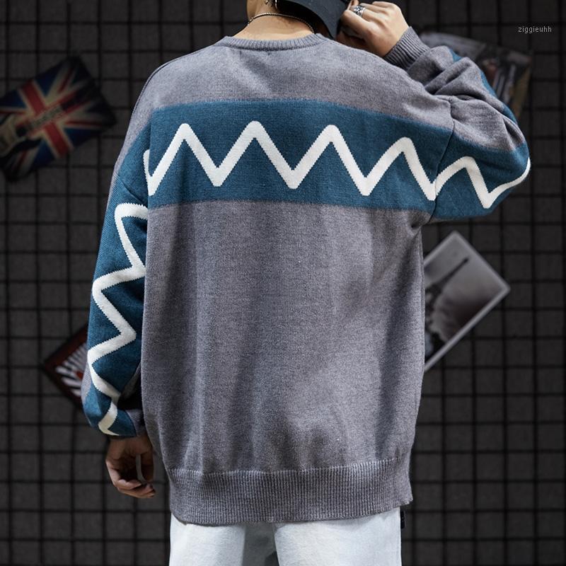 2020 Hombre High Street Punk Style Otoño e invierno Estilo de puerto de invierno Suéter Punto Suéter de punto Hip Hop Superiz Pullover1