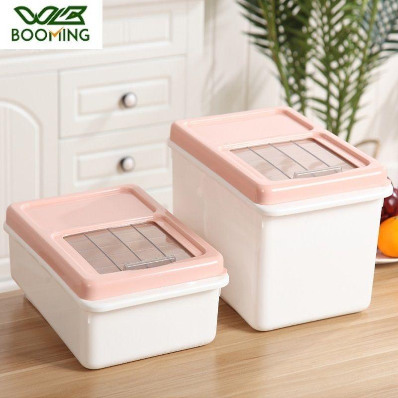 Wbbooming пластиковая кухня свежего риса хранения для хранения пылезащитные бутылки для хранения зерна 3 Различные размеры Top Visual Window Designs 201022