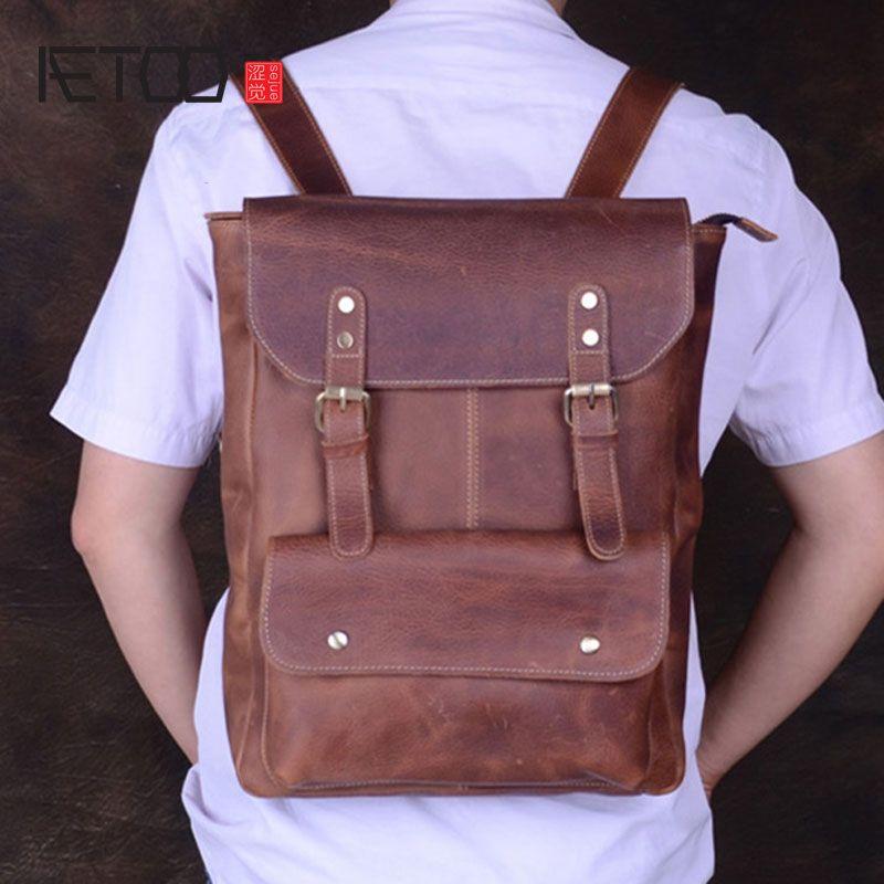 HBP Avrupa erkek çantası, çanta el yapımı aetoo at vintage Amerikan sırt çantası, deri eğlence baş seyahat ve rfarm