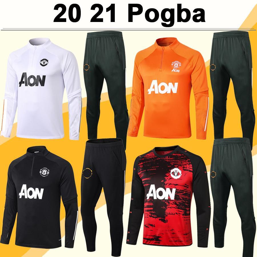 20 21 Pogba Rashford Clear Zip Jaqueta Terno Mens Futebol Jerseys Mata Martial Lingard Matic Carrick Jacket Set Black White Football Camisa