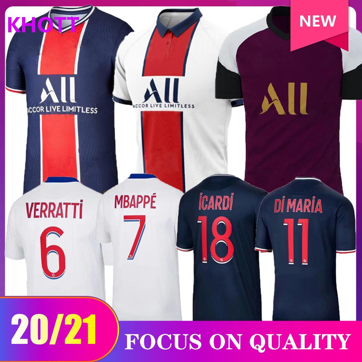 Kit di calcio Maillots de Football 20 21 Jersey di calcio 2020 2021 Mbappe Icardi Neyymar Camicia JR Men Bambini Set Uniforme Maillot de Foot Hommes Enfants