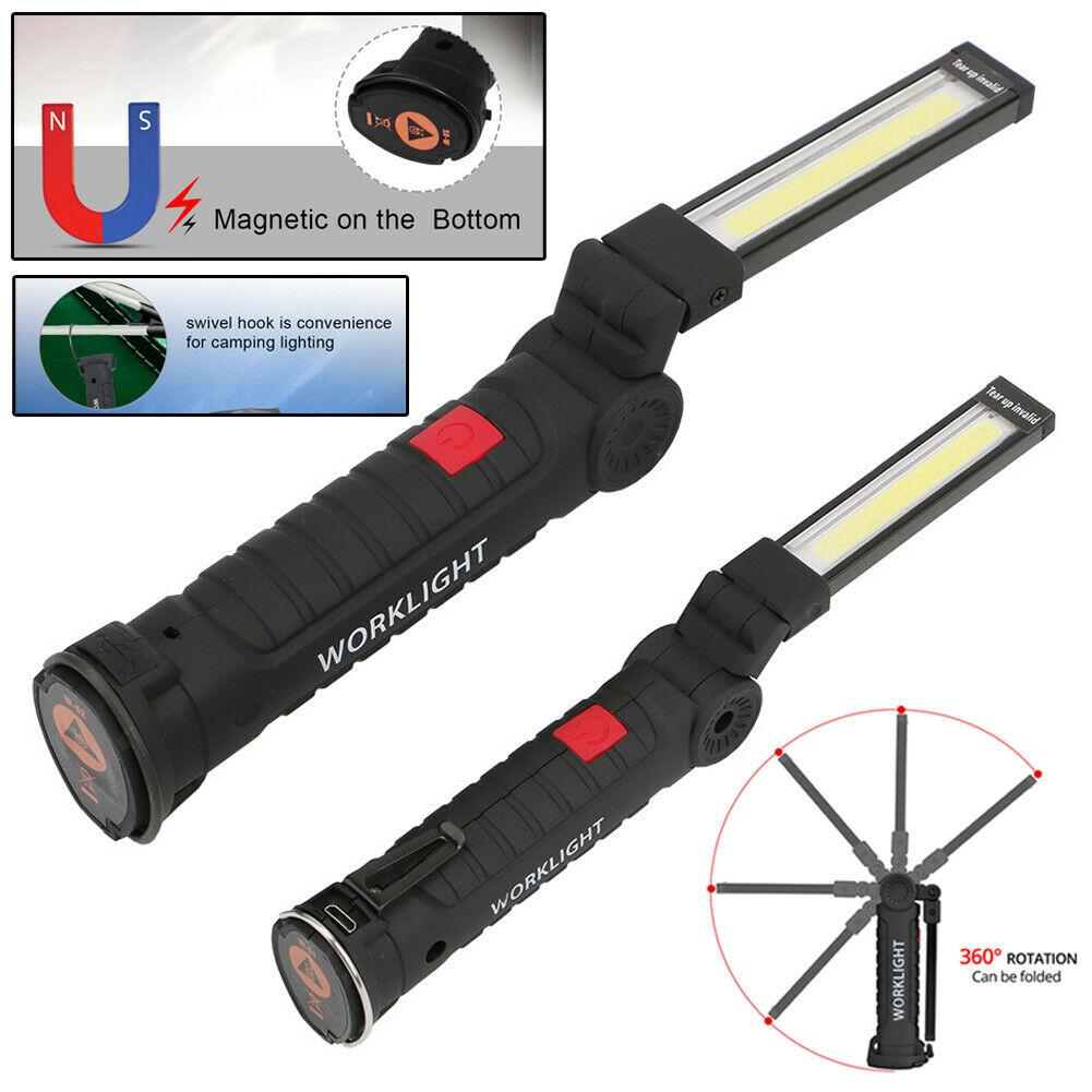 Taşınabilir 5 Modu COB El Feneri Torch USB Şarj Edilebilir LED Gadget Çalışma Işığı Manyetik Asmak Kanca Açık Kamp Araba Akülü Esnek Muayene Lambası