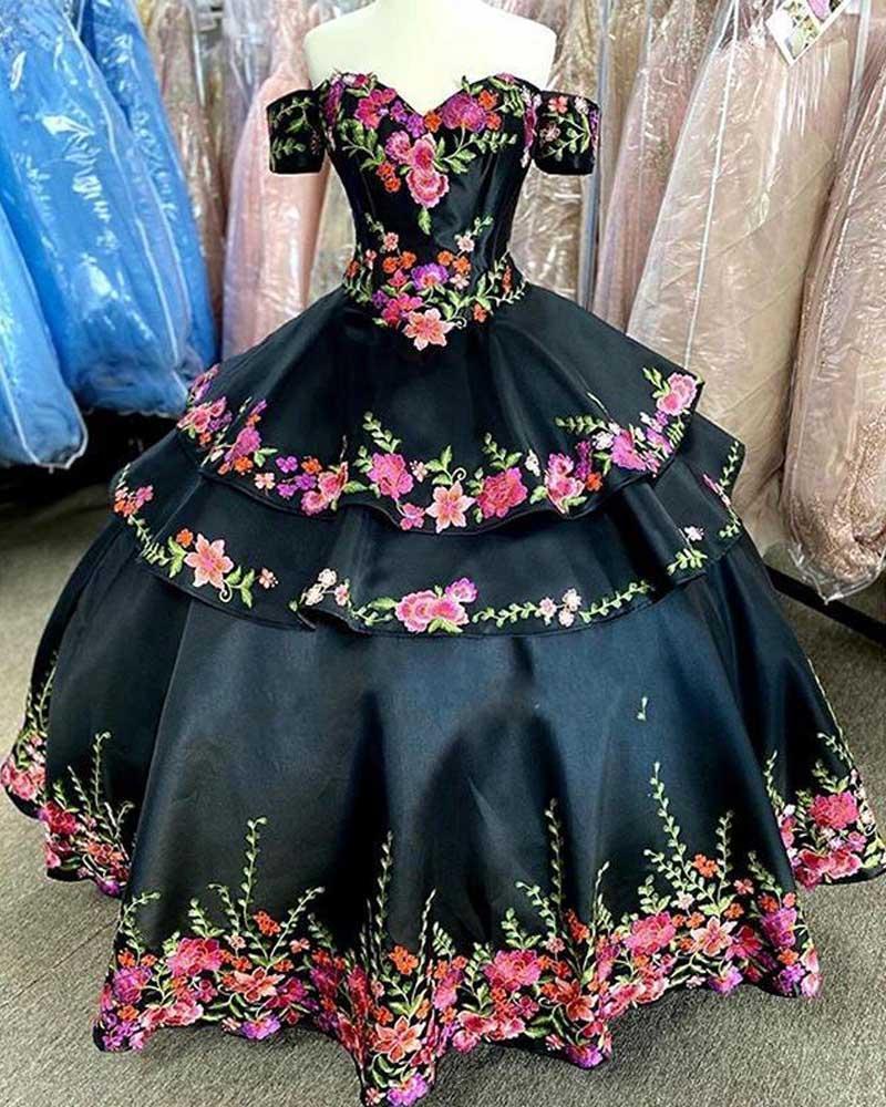 Negro 2020 vestidos de quinceañera bordado floral apliques del hombro del vendaje del vestido de regreso a casa Prom vestidos de bola barato