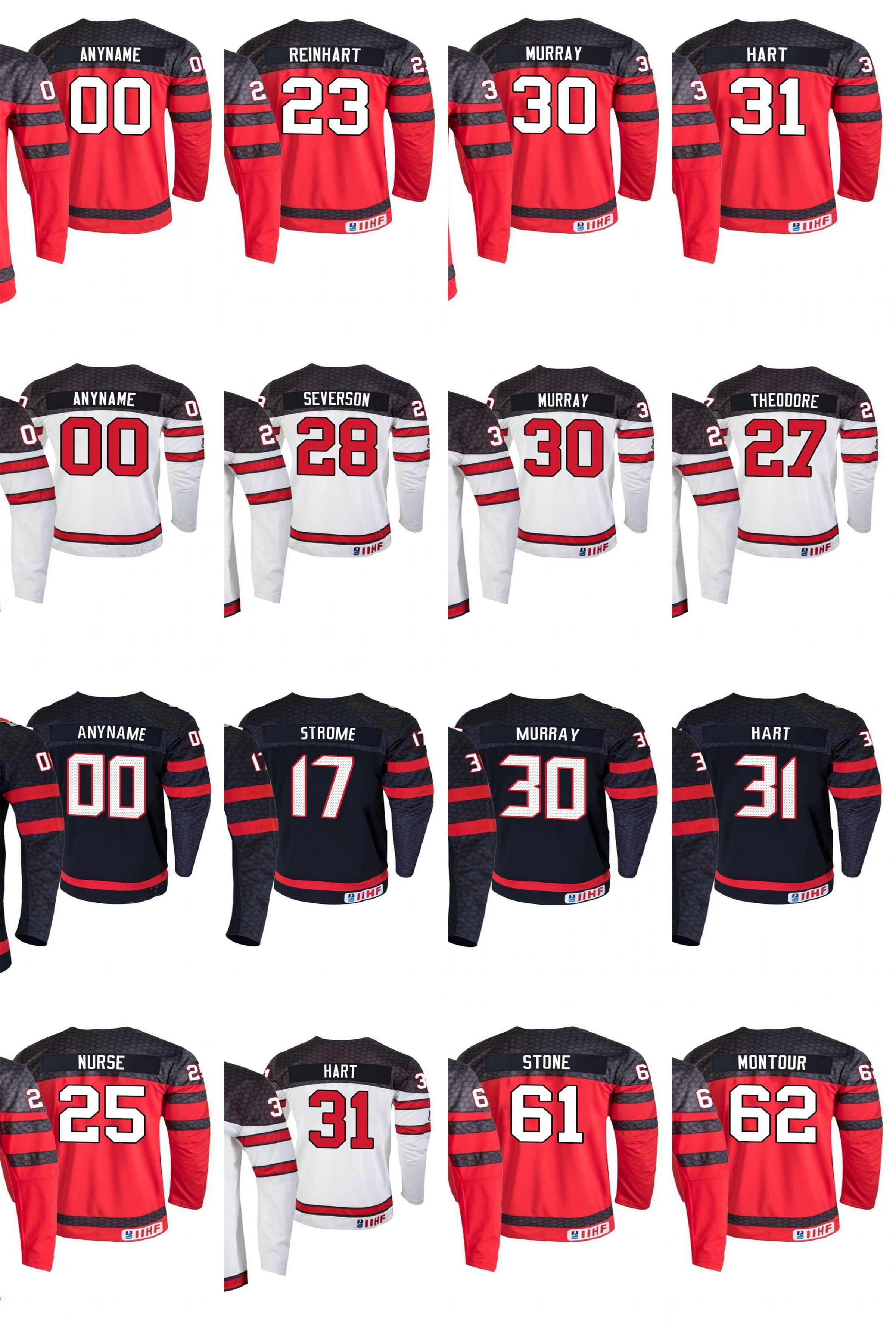 2019 IIHF Campeonato Mundial Canadá Jerseys Hockey Murray Jersey Sam Dylan Strome Dante Fabbro Carter Hart Mathieu Joseph Custom Steinsted