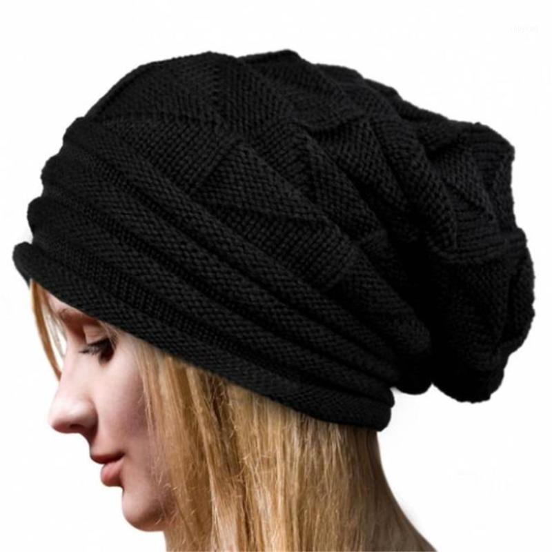 2020 Fashion Women Winter Crochet Cappello in lana Berretto a maglia Berretto Caldi Caps Solid Colore T5311