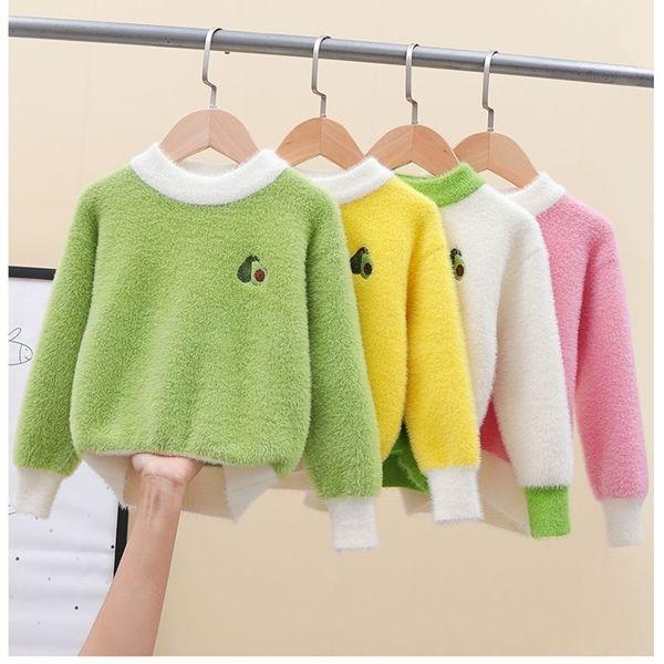 2020 Winter Toddler Girls Sweaters Korean Kids Autumn Clothes Fashion Imitation Mink Fleece Pullovers Avocado Children's Sweater C1103