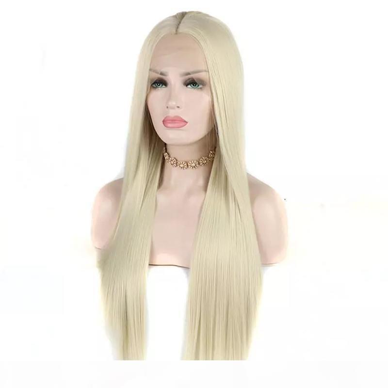 Loiro Frente Lace Wig alta temperatura fibra resistente ao calor reta longa Glueless Branco loiro 60 Synthetic Lace perucas para mulheres brancas