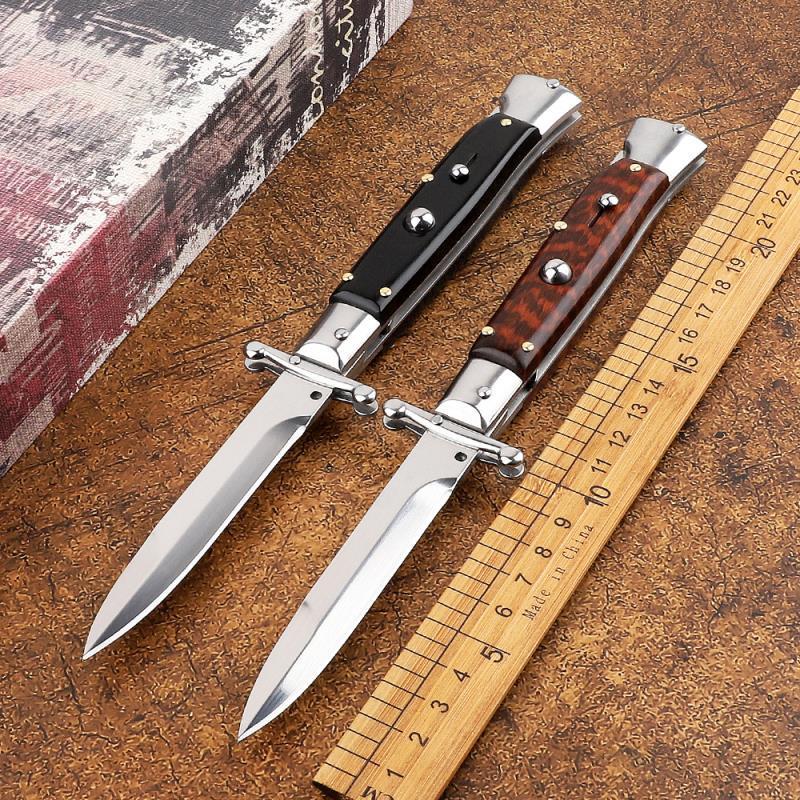 Высококачественные 440 ° С 9-дюймовый Одноместный Открытый Мафия Древесина Древесина Автоматическое лезвие Змея Итальянский Нож Ручка для кемпинга Коллекция Tactics JXJBI
