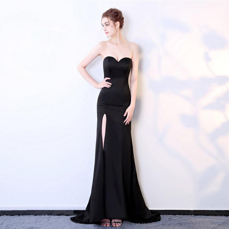 Sexy бретелек Длинные Черный Макси платье спереди щелевая голое плечо женщин вечернее платье лета Night платье платье партии
