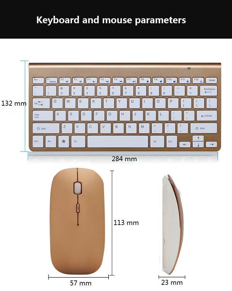 2.4G ultra-mince affaires Clavier et souris sans fil Combo Clavier ergonomique Souris sans fil pour PC Ordinateur portable