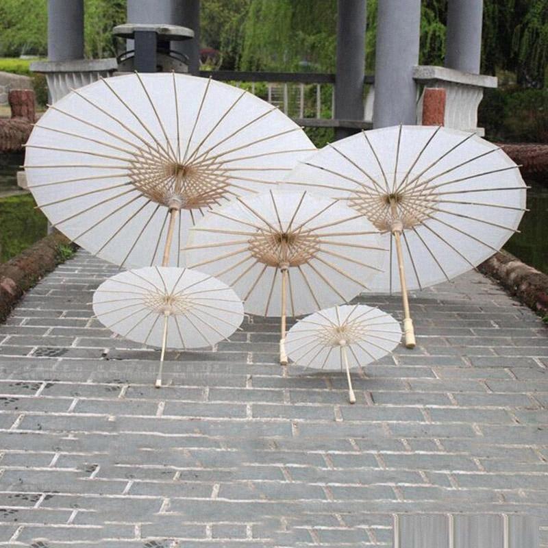 Libro Blanco Tradicional China Mini Papel aceite paraguas de bambú Paraso niños DIY pintura niños funcionamiento apoya paraguas W3lT #