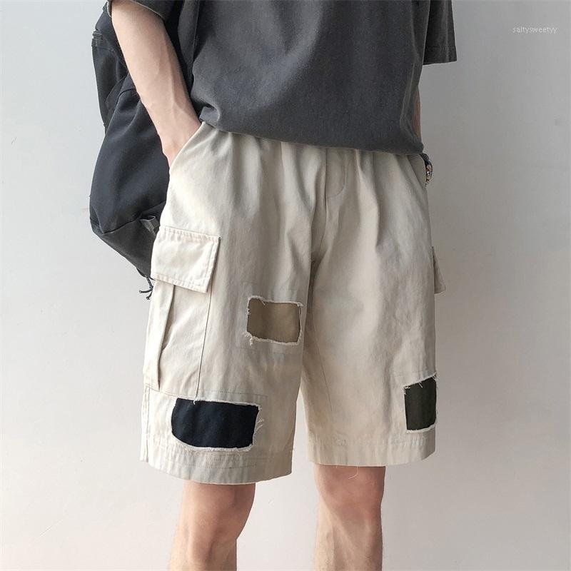 2020 Bahar ve Yaz Yeni Moda Trend Kore Versiyonu Gevşek Çift Beş Noktaları Pamuk Düz Yama Rahat Pantolon M-2XL1