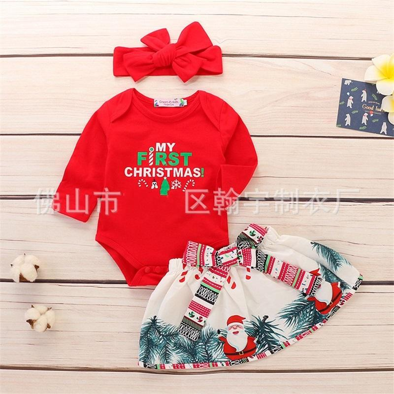 Three Pieces Set Baby Clothing Long Sleeves Children One-Piece Garment Santa Claus Babys Short Skirt Headwear Christmas 21 5hy K2