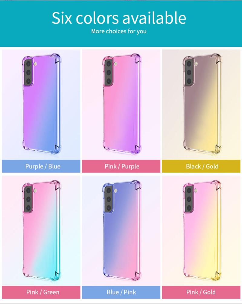 Rainbow Dominy Colores Soft Clear Celular Funda a prueba de golpes para Samsung S21 PLUS S30 A51 A71 A42 A12 A32 A52 A72 5G A21S A31
