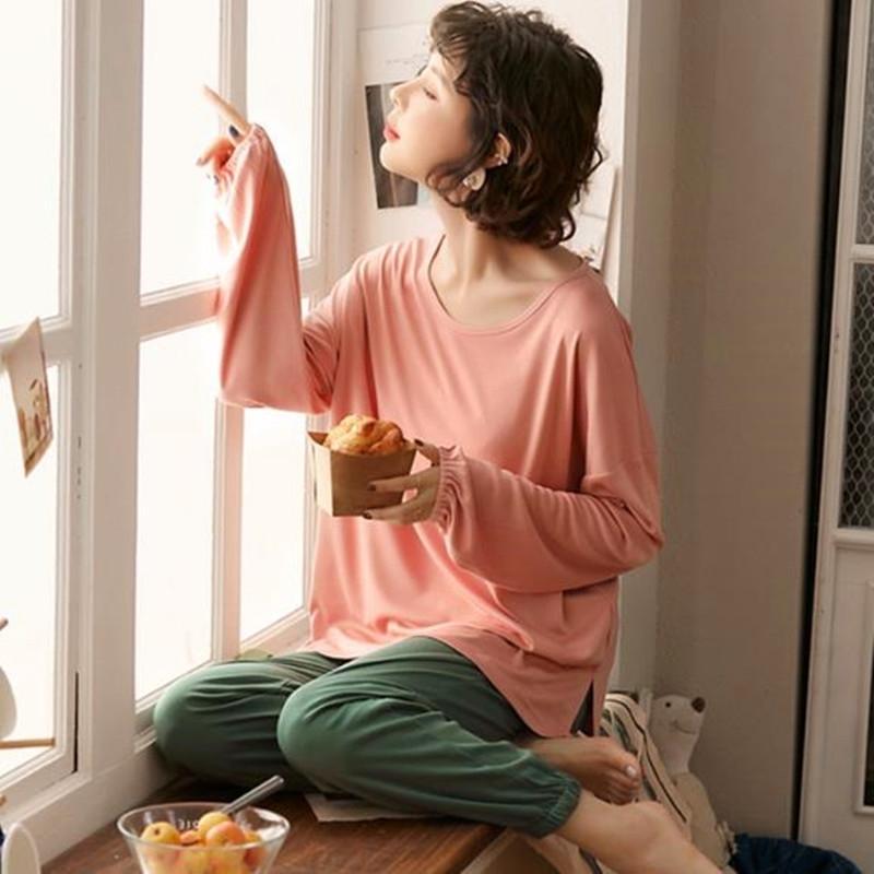 Korean Herbst Winter pijamas neue lose Damen Nachtwäsche Pyjamas Set Baumwolle Pyjama Frauen Casual Homewear Kleidung Nacht Anzug