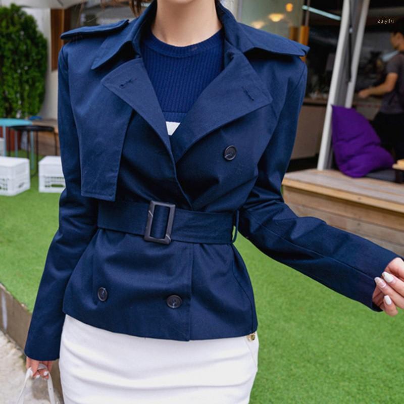 Diseñador de pista Mujeres rechazan el cuello abrigo corto de la zanja 2020 primavera de la manga larga de doble botonadura de la primavera con el abrigo de la correa1