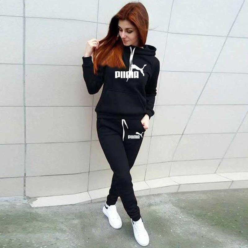 Uzun Kollu Eşofman Kadın Koşu Set Kış Güz Jogging Ter Pantolon Spor Kadın Spor Suits Hoodies C1103