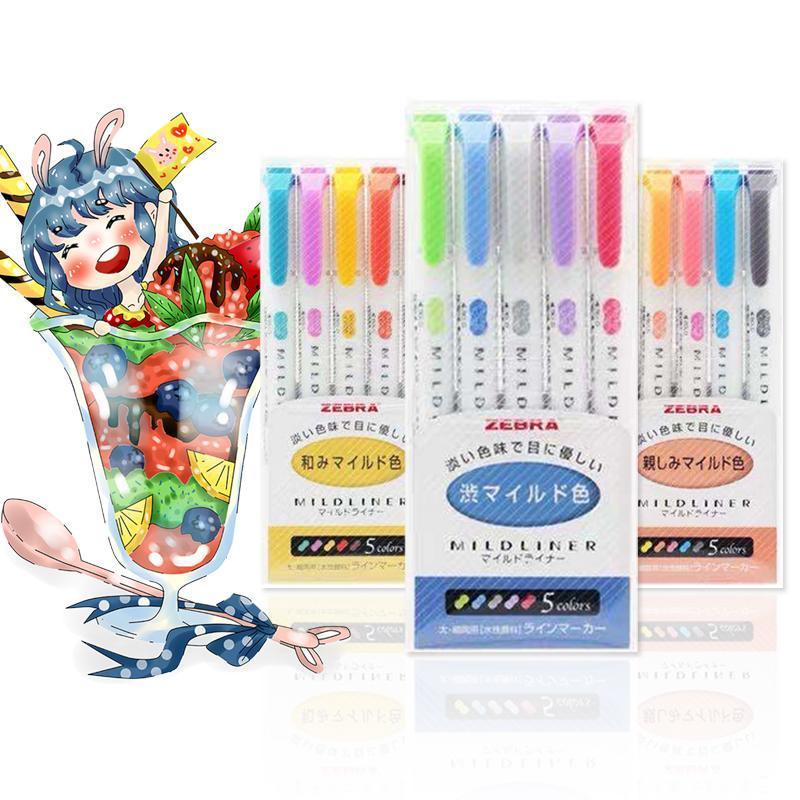 5 шт. Зебра Маркеры вкладышей ручка двойной головки ручка милый арт-маркер японское искусство канцелярские принадлежности