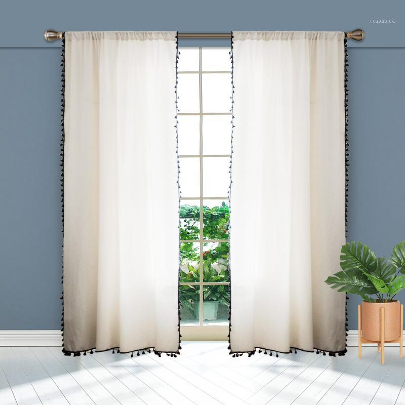 2pcs Elegant Panel With Tassel Tulle Linen Look Home Decorative Kitchen Bedroom Window Living Room Semi-Sheer Curtain Simple1