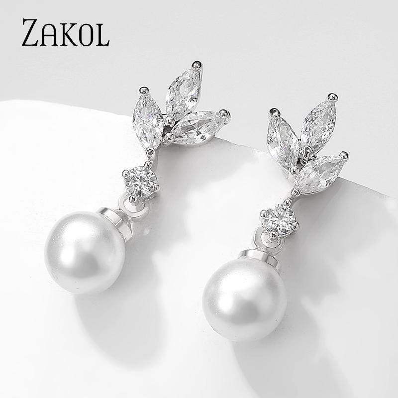 Элегантные Свадебные украшения ZAKOL Обручальное для женщин Подарки Классический Цирконий Pearl серьги FSEP2438