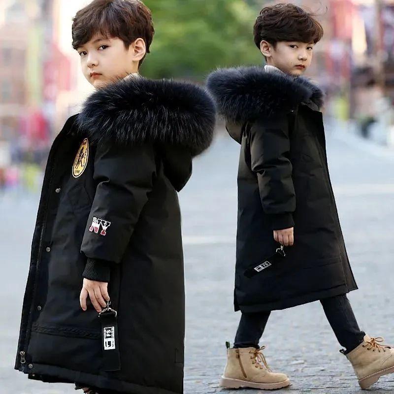 Новый высококачественный зимний ребенок мальчик пальто куртка Parka большие дети толщины теплые пальто 6 8 10 12 14-летний пух пузки на белом фоне 201126