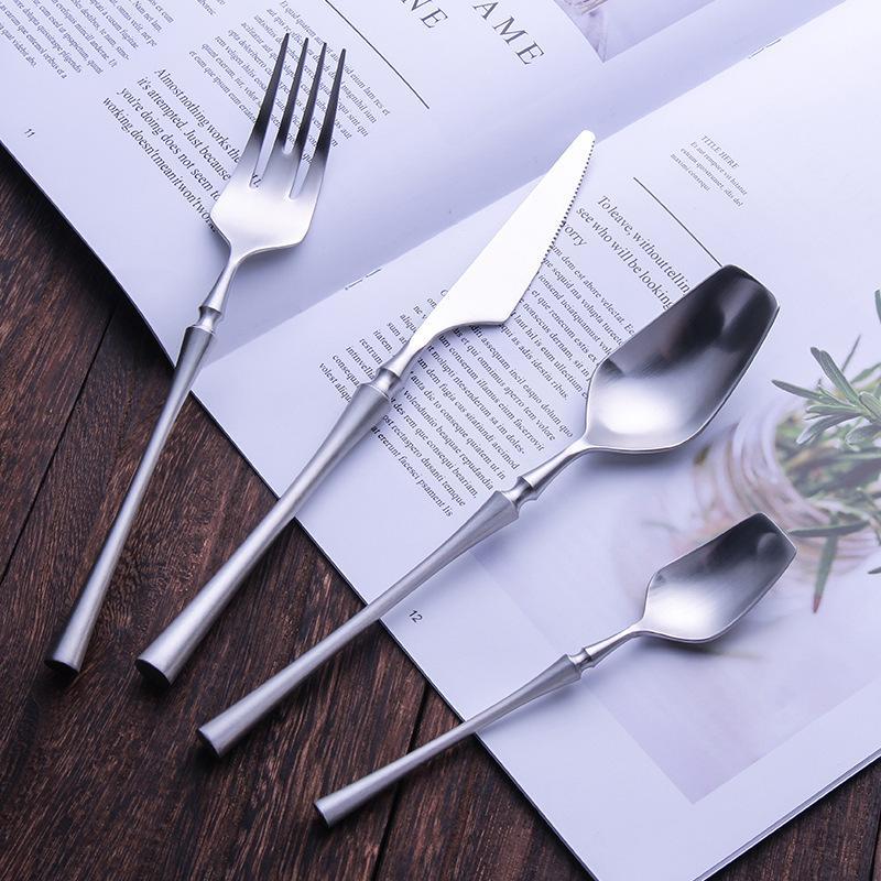 4pcs de vaisselle Western Portable Couverts Argenterie Voyage en acier inoxydable luxe poignée couteau fourchette dîner Arts de la table Set C1108