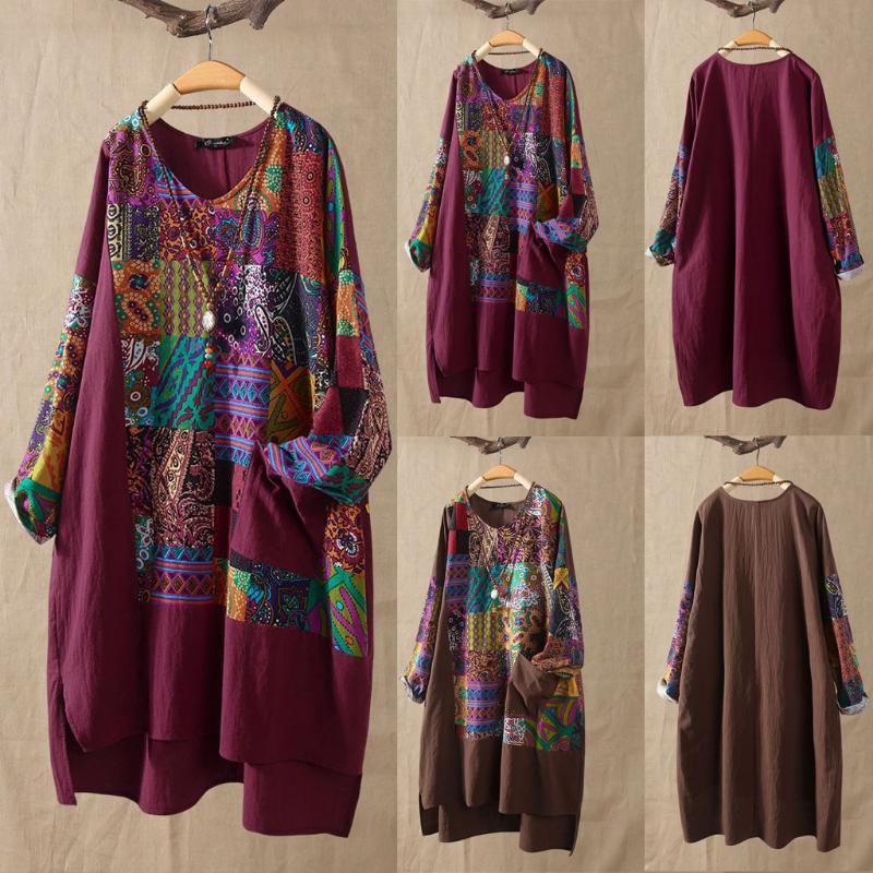 Женские Куртки Jaycosin 2021 Женская Футболка Плюс Размер Женщины Длинные Рукава Хлопковое белье O-Sece Print Blouse Top Femme Рубашка P30
