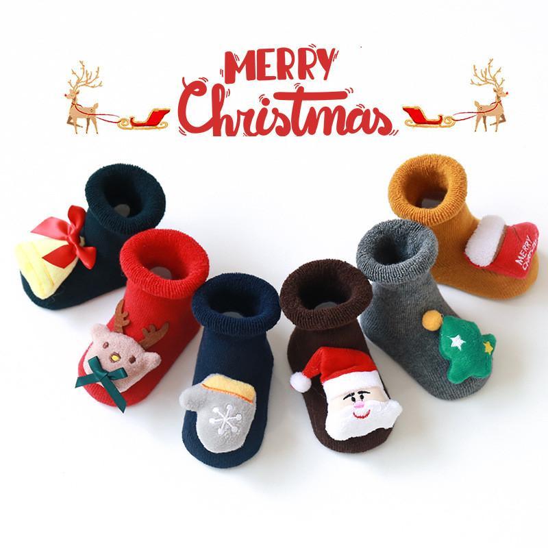 Navidad del bebé antideslizante piso del calcetín infantil 0-3 años de algodón de Santa piso calcetines de silicona antideslizante del niño del calcetín FWB1507