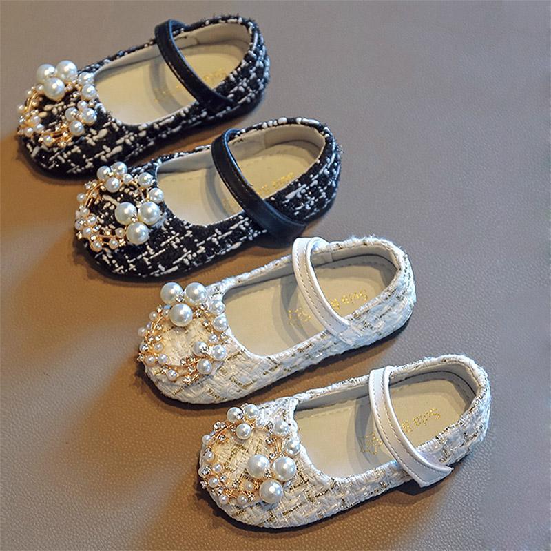 Kızlar Ayakkabı Inciler Prenses Ayakkabı Kostüm Tüvit Bebek Çocuk Çocuk Mary Janes Ayakkabı Ekose Boncuk Toddlers Kaymaz Bahar Sonbahar Sonbahar