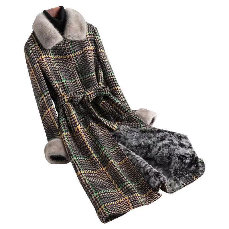 Женская шерсть смесится осень зима Твид пальто Женщины Корейский стиль плед Длинные Abrigos Mujer Invierno 2021 Толстые теплые стекающиеся парку Parka Plus размер