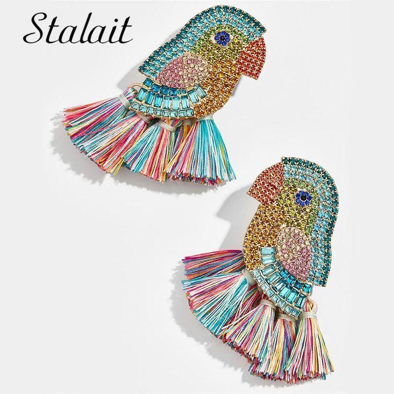 Богемные мульти цветные серьги попугаев ручной работы кристалл птичьего кисточка серьги для женских свадебных украшений1