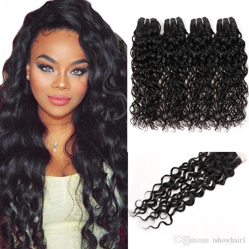 Envío gratis Indian Human Hair Traffs Best 10a Brasilian Hair Hair Pein Bundles con el cierre Water Wave Wholesale 4bundles con cierre