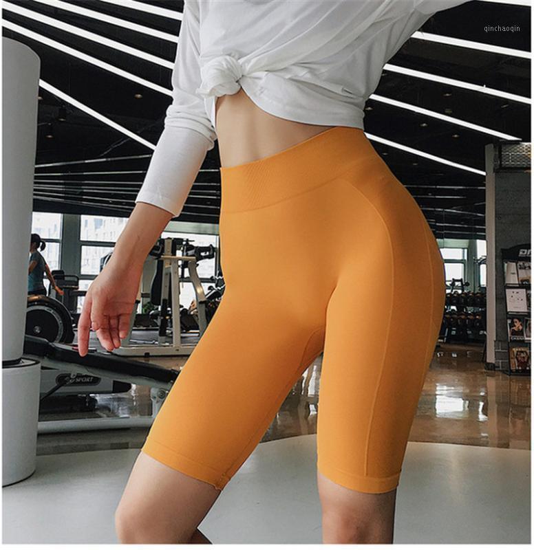 Outfits Йоги Женщины Высокая Талия Энергия Без бесшовные Шорты Пушки Удар Гидратный спортзал Фитнес Сплошной Цвет Сексуальные Рабочие Спортивные Леггинсы1
