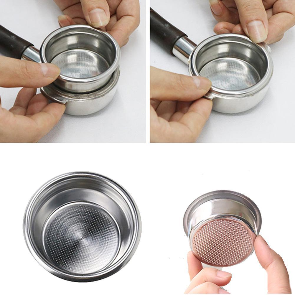Acero Inoxidable Doble 2 Copa portafiltros de 58 mm en forma para Herramientas Portafilter Portafilter cocina de acero inoxidable
