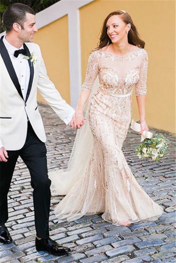 Media manga de lujo vestido de novia atractivo ver a través de longitud de fiesta de la boda vestido de novia por encargo