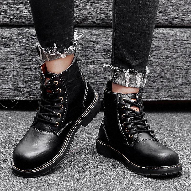 Boots For Men Rubber Ankle Boots Shoes Men Lace-Up genuine leather Flat With Ankle Water Botas Shoes Motorcycle boots a4 #jN9j